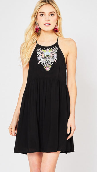Black Halter Neck Embroidered Dress - Midnight Magnolia Boutique