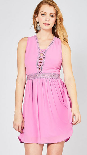 Lavender V-Neck Lace Up Dress - Midnight Magnolia Boutique