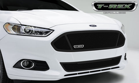 Fusion Grille 13-15 Ford Fusion Main W/3 WindowsMild Steel Powdercoat Black 1 Piece Upper Class Series T-REX Grilles