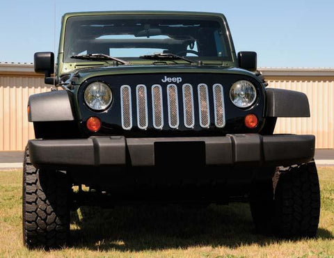 Wrangler Grille 07-17 Jeep Wrangler Stainless Polished 7 Piece Upper Class Series T-REX Grilles