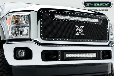 Super Duty Grille 1 30 Inch LED Bar 11-16 Ford Super Duty Mild Steel Powdercoat Black Torch Series T-REX Grilles