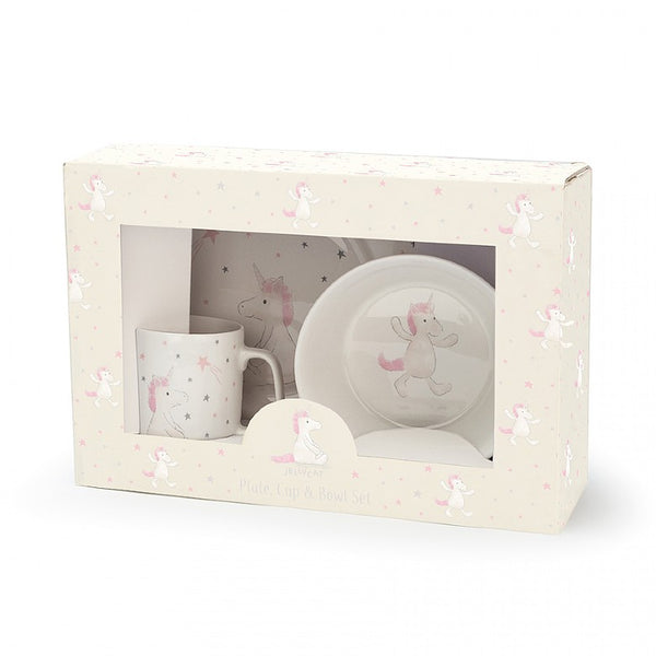 Bashful unicorn cup bowl and plate set