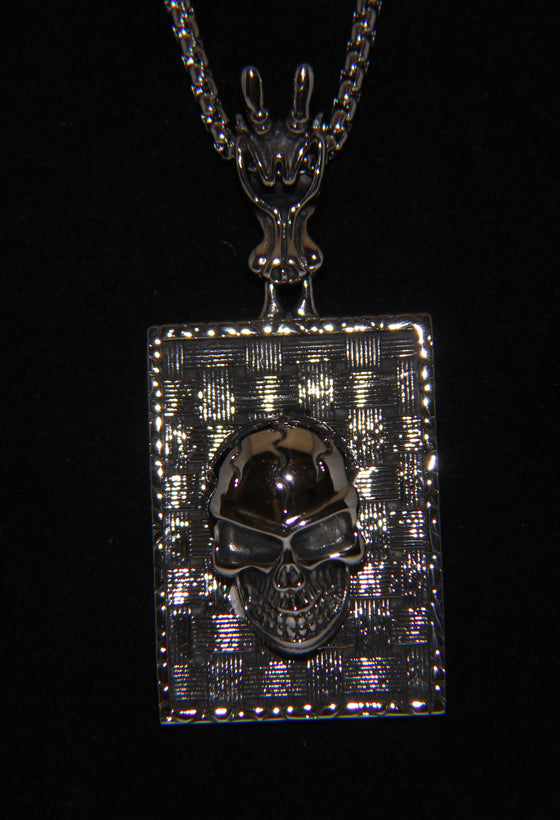 Stainless Steel Large Rectangle Skull Pendant - UDINC0478