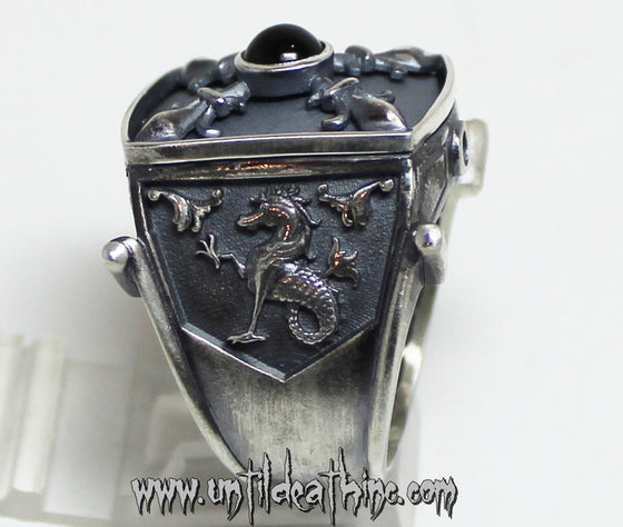 Sea Dragon Medieval King Ring in STERLING SILVER- UDINC0055