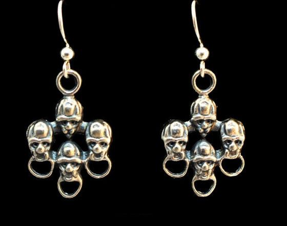 """Ancient Faces"" Dangle Earring Pair in STERLING SILVER- UDINC0123"