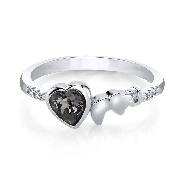 Elephant Silver Ring with Night Swarovski Crystal Heart Center Stone