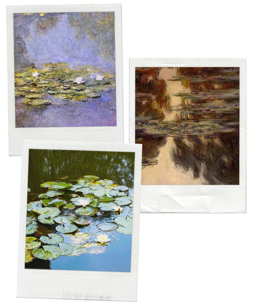 "GIVERNY GARDENS WITH  LILY POND. GIVERNY PAINTING BY MONET. RED SCARF EQUESTRIAN ""THE GIVERNY PROJECT"" FEATURING WATER LILY."