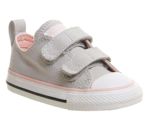 Kids Converse All Star 2Vlace Ash Grey Vapor Pink Uk Size 9 Infant