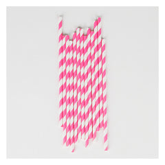 Paper Party Straws- Bright Pink Stripe