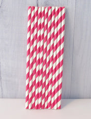 Paper Party Straws- Hot Pink Stripe