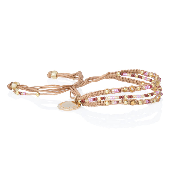 Love Yourself - Beaded Bracelet - Beige/Gold