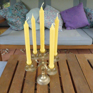 Happy Flame Beeswax candle stick Candlesticks, taper, dinner, hand made ± 12 hours