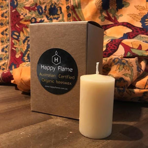 Happy Flame certified organic Mullumbimby Lights made from certified organic beeswax