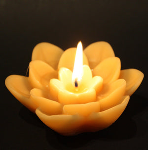 Happy Flame Decorative Floating Lotus Flower beeswax candle