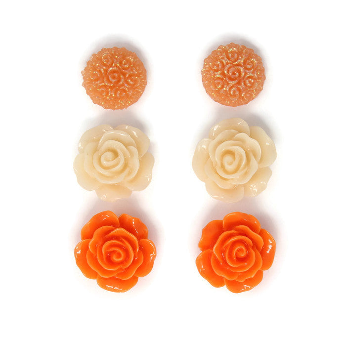 Bloom Stud Set ~ Whipped Tangerine