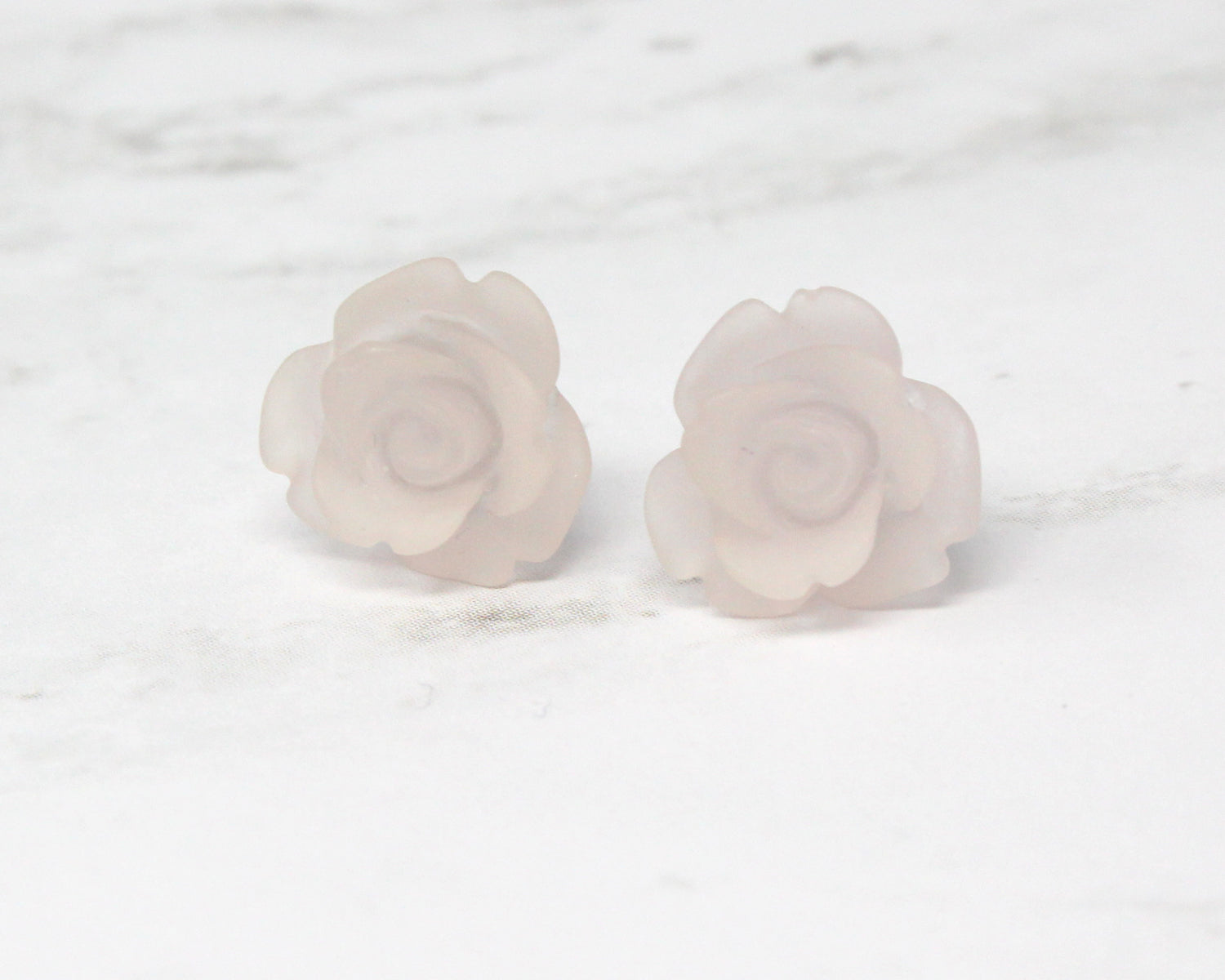Single Bloom Studs ~ Frosted Clear Pink Roses
