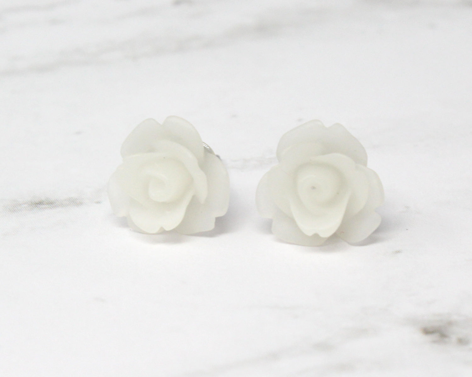 Single Bloom Studs ~ Frosted White Roses