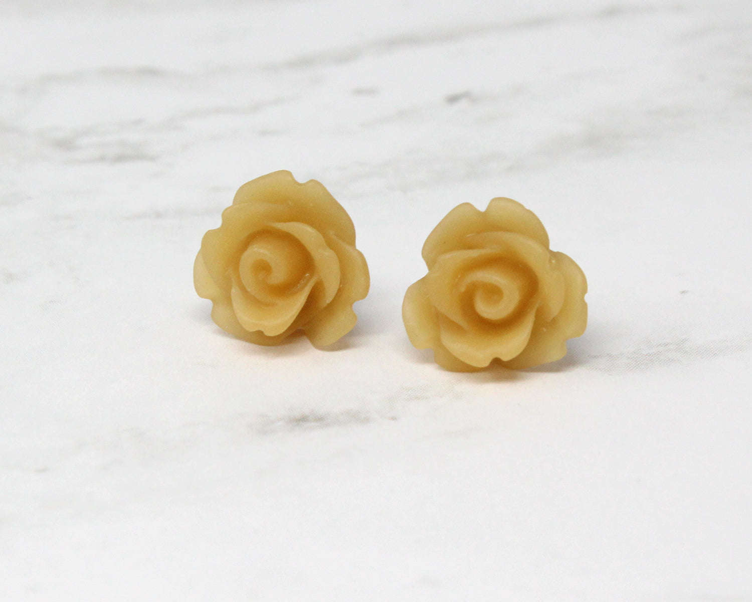 Single Bloom Studs ~ Frosted Latte Roses
