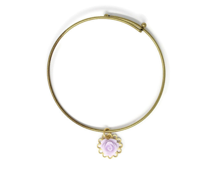 Tiny Petals Layering Bangle ~ Lilac Rose