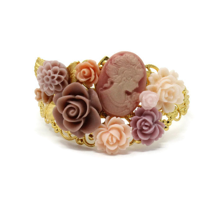 Garden Cuff ~ Dusty Rose Cameo