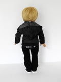 18 Inch Boy Doll Black Moto Pants, Plaid Shirt, Hoodie fits AG Boy Doll