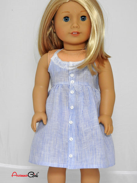 18 Inch Doll Handmade Summer Linen Halter Dress for American Girl Doll