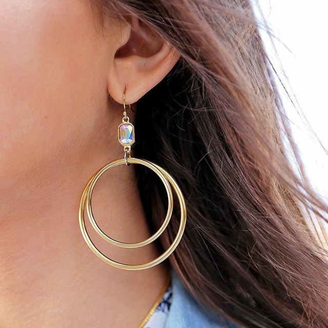 Dylan Hoop Earrings in Crystal AB-Earrings-finish:18kt Gold Plated-Luca + Danni