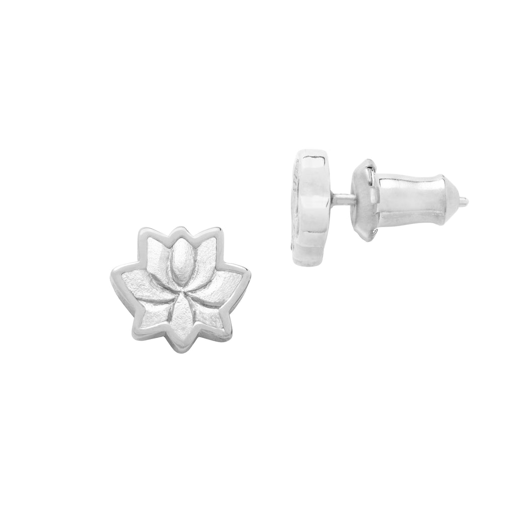 Lotus Flower Stud Earrings finish:Silver Plated