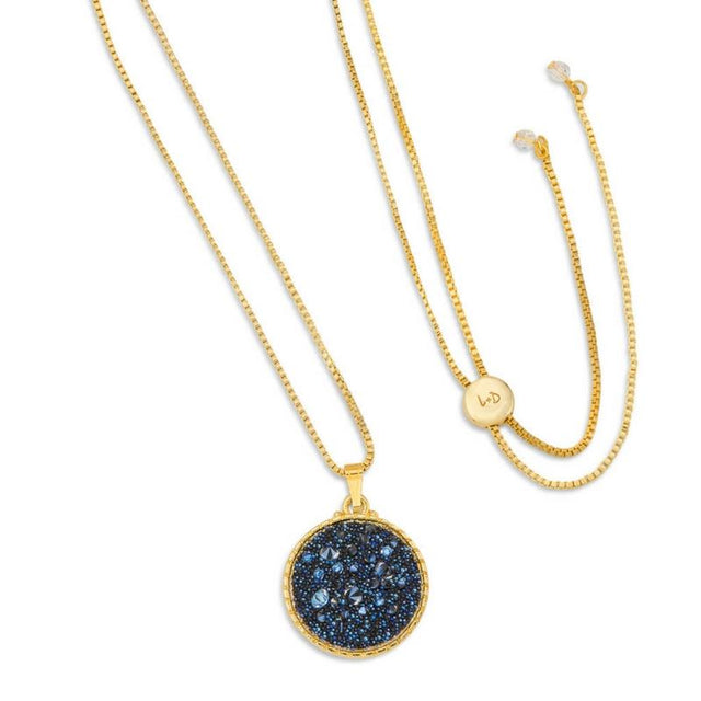 Kelsey Pave Necklace In Metallic Blue-necklace-finish:18kt Gold Plated-Luca + Danni