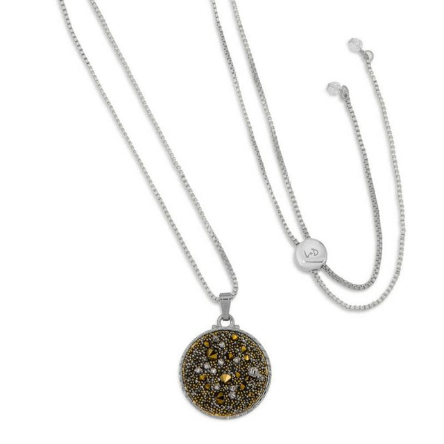Kelsey Pave Necklace In Metallic Gold-necklace-finish:Silver Plated-Luca + Danni