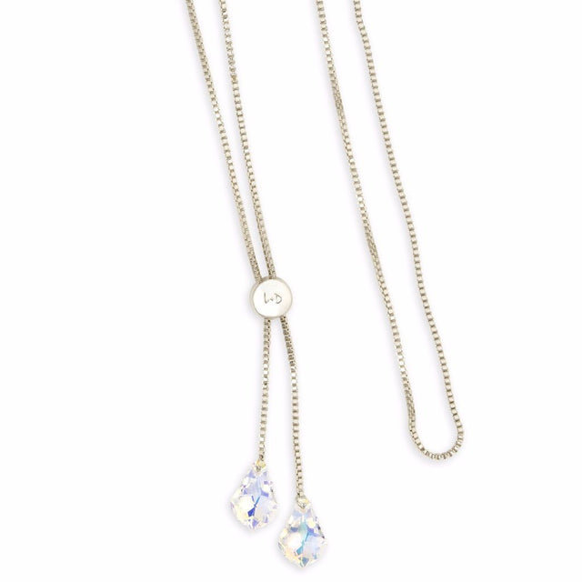 Baroque Lariat Necklace in Crystal AB-Necklace-finish:Silver Plated-Luca + Danni
