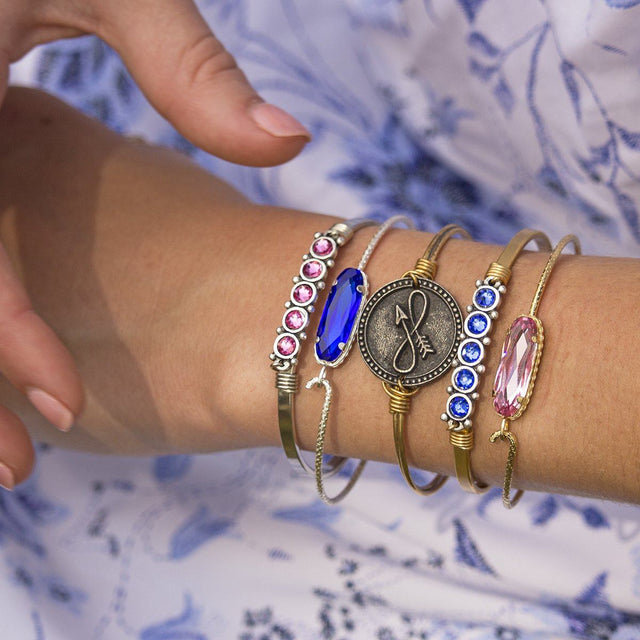 Sterling Silver Willow Bangle Bracelet In Majestic Blue-Precious Metals Bracelet-finish:-Luca + Danni