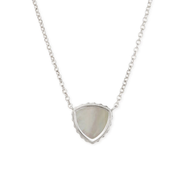 Sterling Silver Trillion Necklace In Mother of Pearl-Precious Metals Pendant-finish:Sterling Silver-Luca + Danni