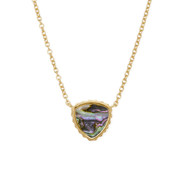 Sterling Silver Trillion Necklace In Abalone Shell-Precious Metals Pendant-finish:18kt Gold Plated-Luca + Danni