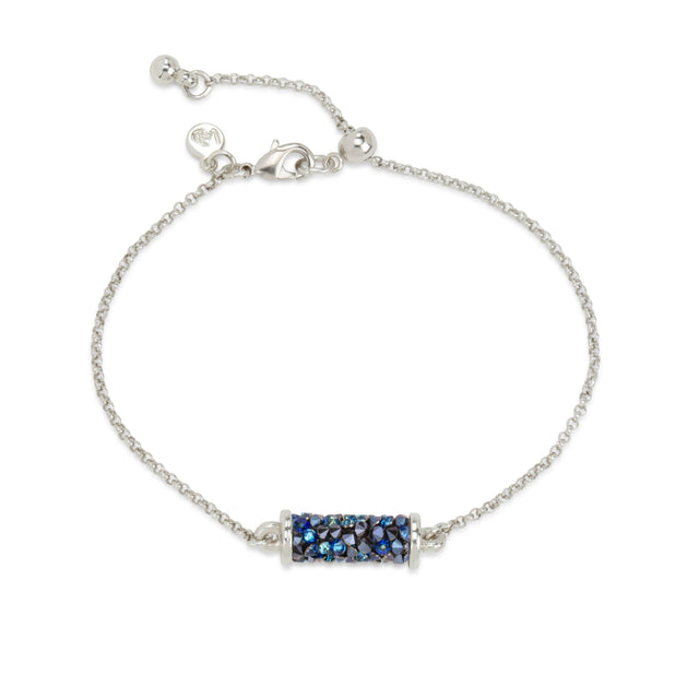 Druzy Tube Slider Bracelet in Metallic Blue