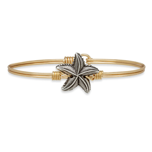 Starfish Bangle Bracelet finish:Brass Tone