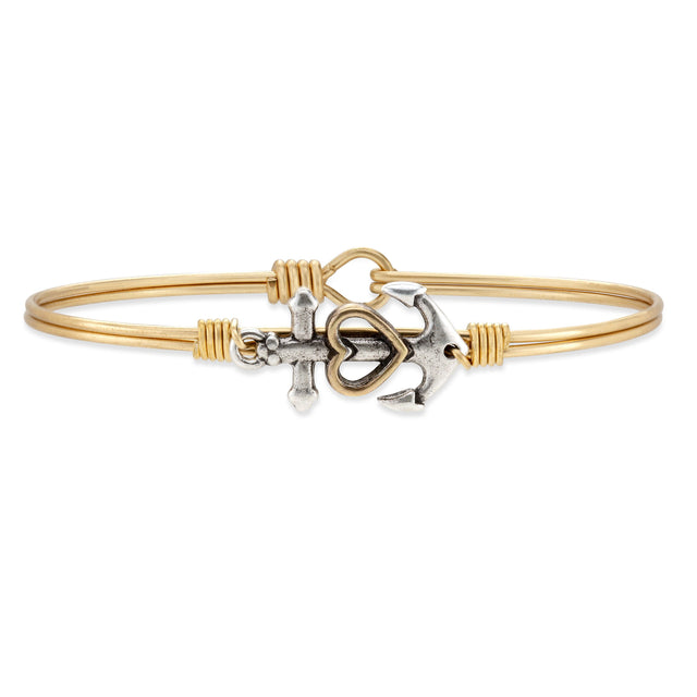 Anchor Bangle Bracelet finish:Brass Tone
