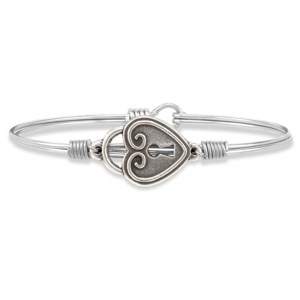 Key to My Heart Bangle Bracelet finish:Silver Tone