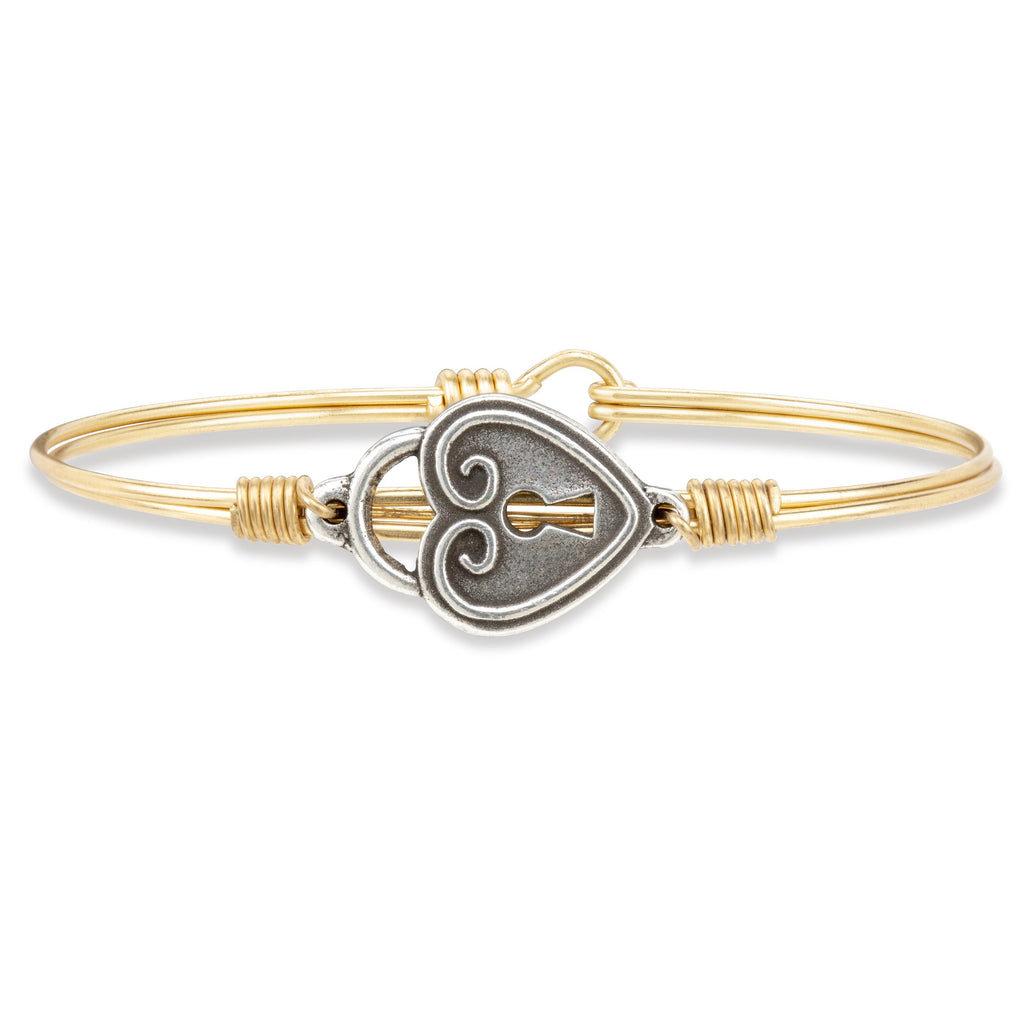 Key to My Heart Bangle Bracelet finish:Brass Tone