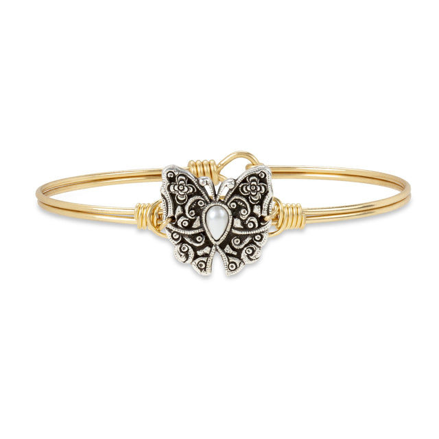 Butterfly Bangle Bracelet finish:Brass Tone