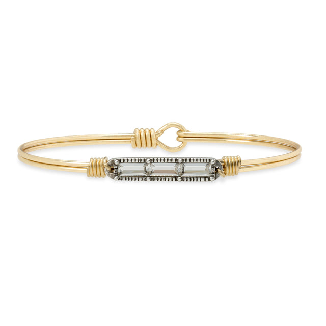 Mini Hudson Bangle Bracelet in Crystal finish:Brass Tone