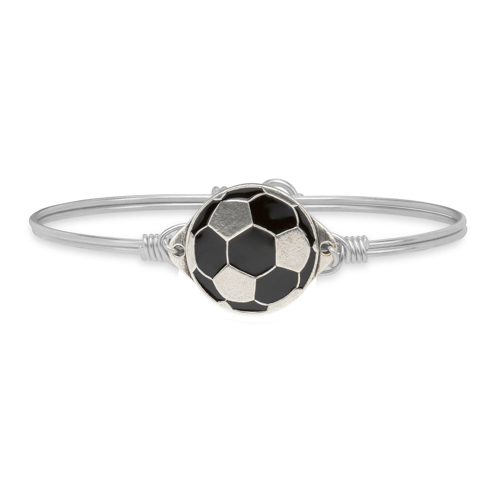 Soccer Ball Bangle Bracelet finish:Silver Tone