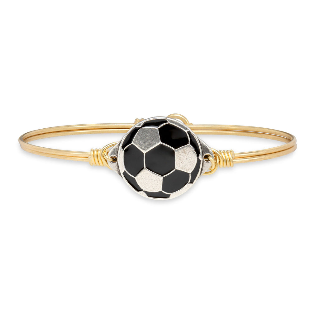 Soccer Ball Bangle Bracelet finish:Brass Tone
