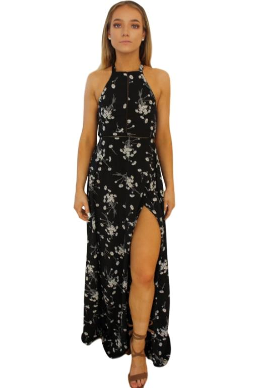 ASHA - BYRON BAY MAXI DRESS BLACK FLORAL 31494