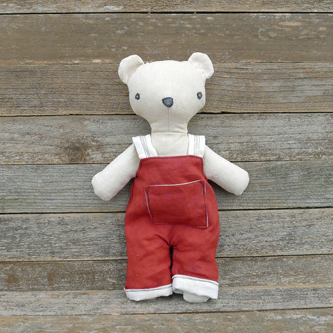 heirloom teddy bear: red overalls