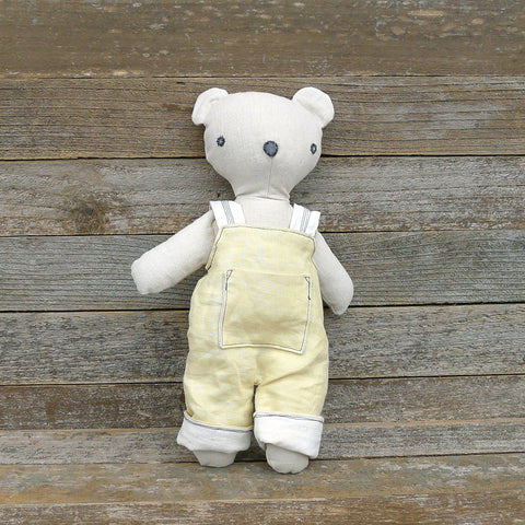 heirloom teddy bear: yellow overalls
