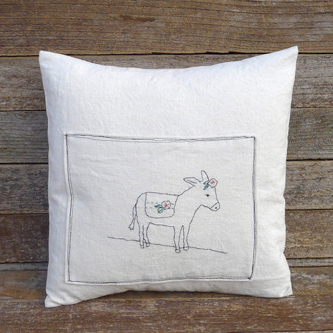 organic cotton/hemp pillow: donkey