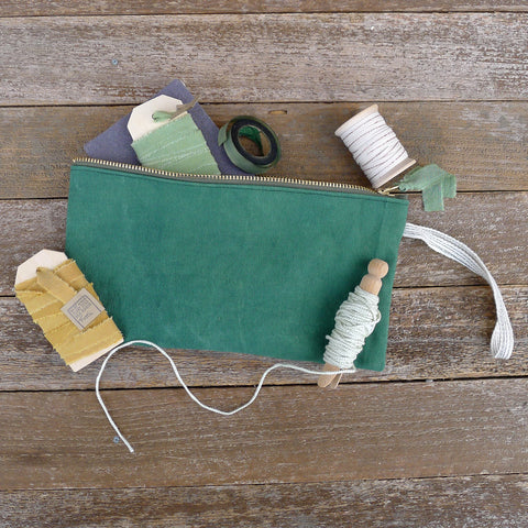 zipper notions pouch: green