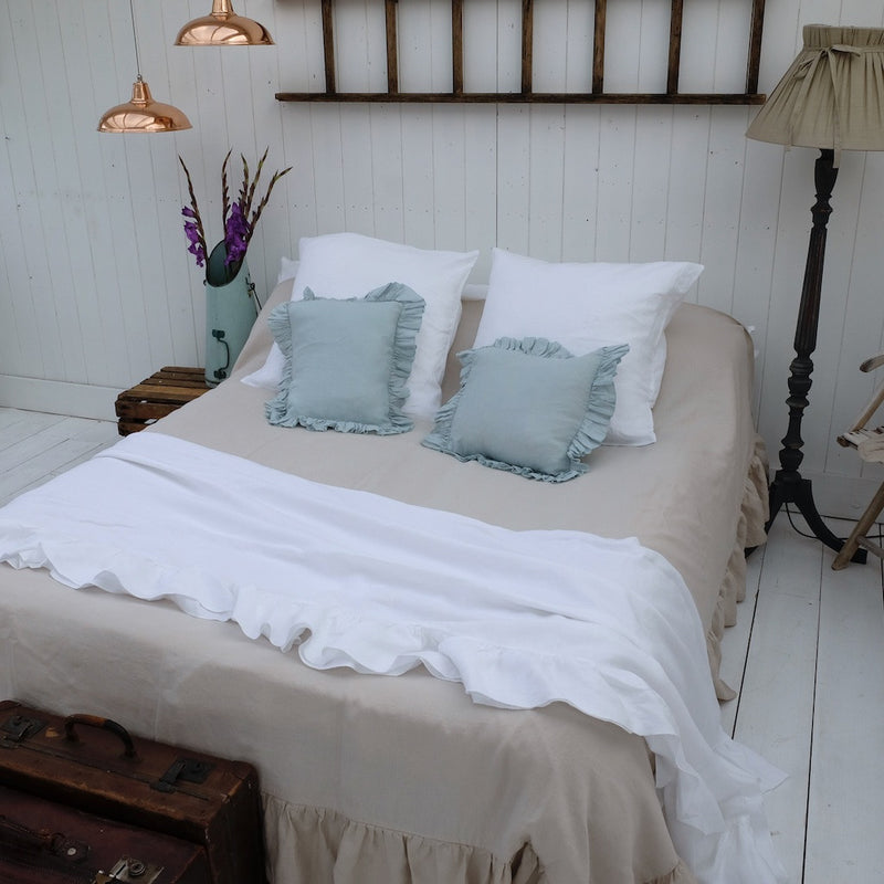 Ruffled Linen Bed Throw/Blanket - Linen