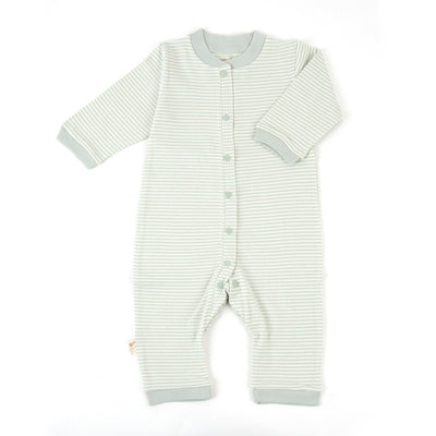 Organic Pinstripe Footless Snap-Front Romper